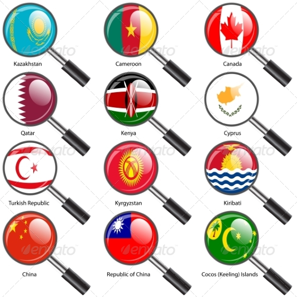 GraphicRiver Set Flags of World Sovereign States Magnifying Glass 7310177