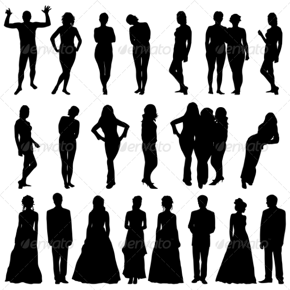 GraphicRiver Silhouettes of Beautiful Men and Women 7310273