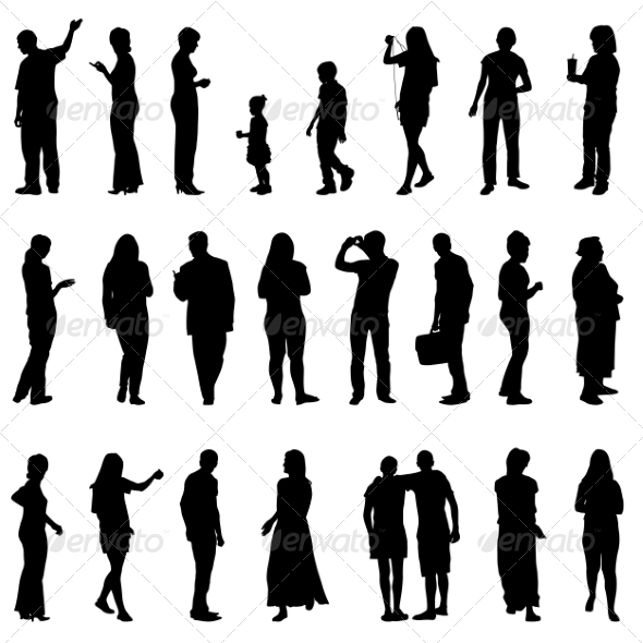 GraphicRiver Silhouettes of Beautiful Mens and Women 7310281