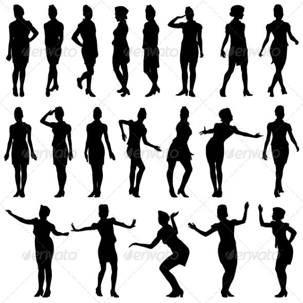 GraphicRiver Silhouettes of Beautiful Stewardess Girls 7310406