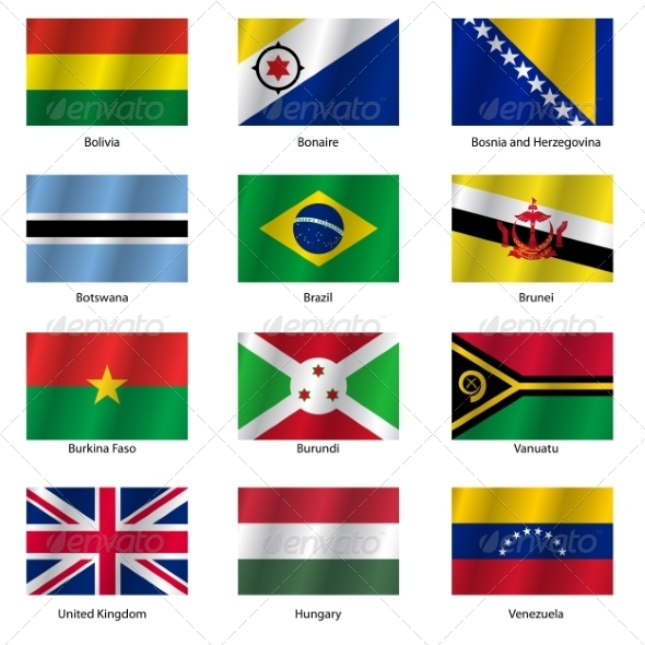 GraphicRiver Set Flags of World Sovereign States Vector Illustration 7310645