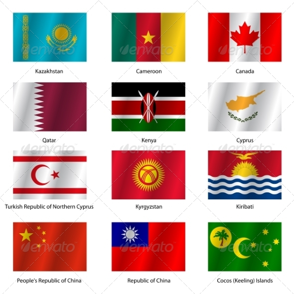 GraphicRiver Set Flags of World Sovereign States Vector Illustration 7310659