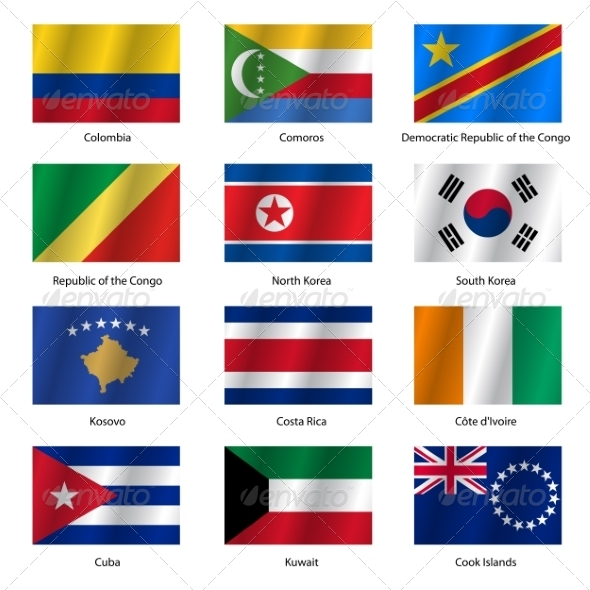 GraphicRiver Set Flags of World Sovereign States Vector Illustration 7310675
