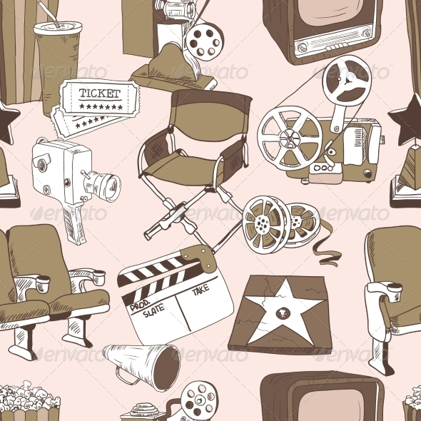 GraphicRiver Doodle Cinema Seamless Pattern 7311491