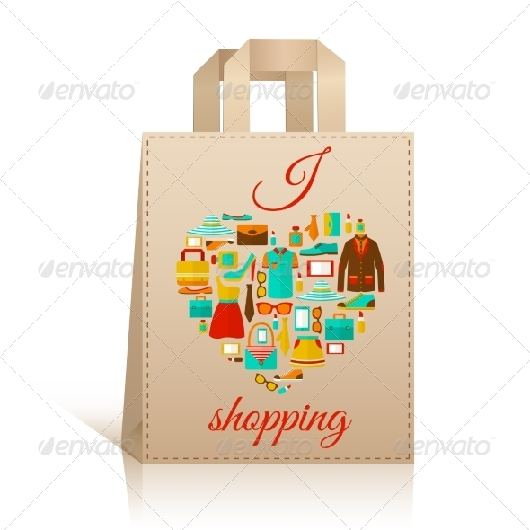 GraphicRiver Love Heart Shopping Bag Symbol 7311508