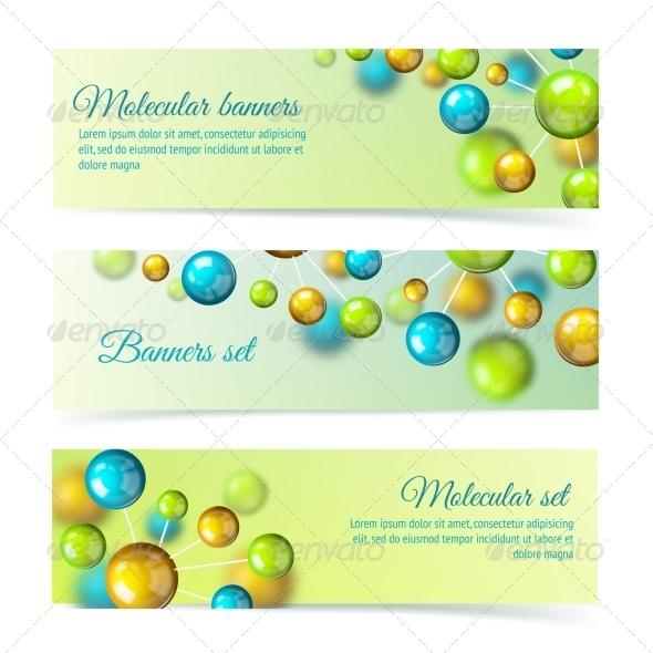 GraphicRiver Colored Molecule Banners 3D Set 7311544