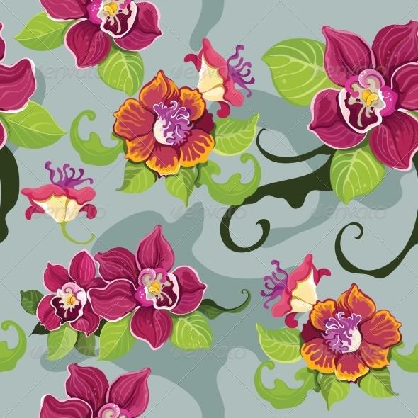 GraphicRiver Seamless Tropical Flower Wallpaper 7311555
