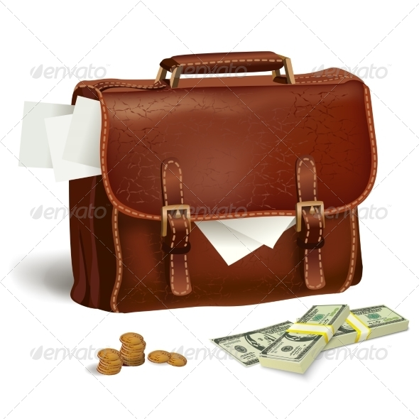 GraphicRiver Leather Briefcase with Documents and Money 7311562