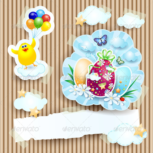 GraphicRiver Easter Illustration with Chick and Eggs 7312275