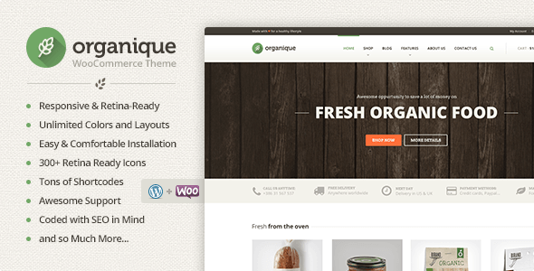 ThemeForest Organique WordPress Theme For Healthy Food Shop 7312458