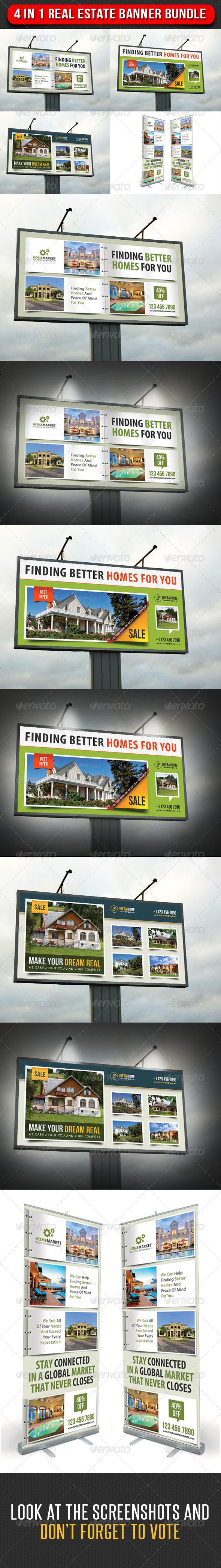 GraphicRiver 4 in 1 Real Estate Banner Bundle 03 7313024