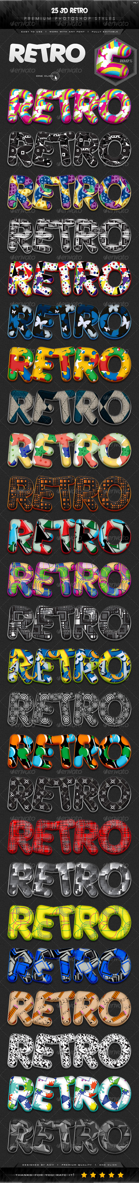 GraphicRiver 25 3D Retro Styles Vol.1 7255496