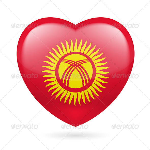 GraphicRiver Heart Icon of Kyrgyzstan 7313711