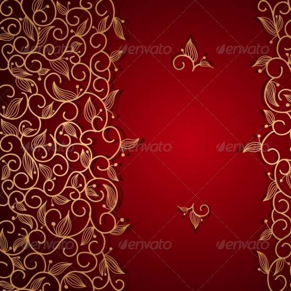 GraphicRiver Red Invitation with Gold Lace Floral Ornament 7314106