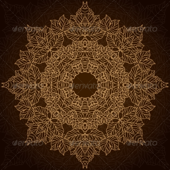 GraphicRiver Brown and Gold Lace Circle Ornament 7314152