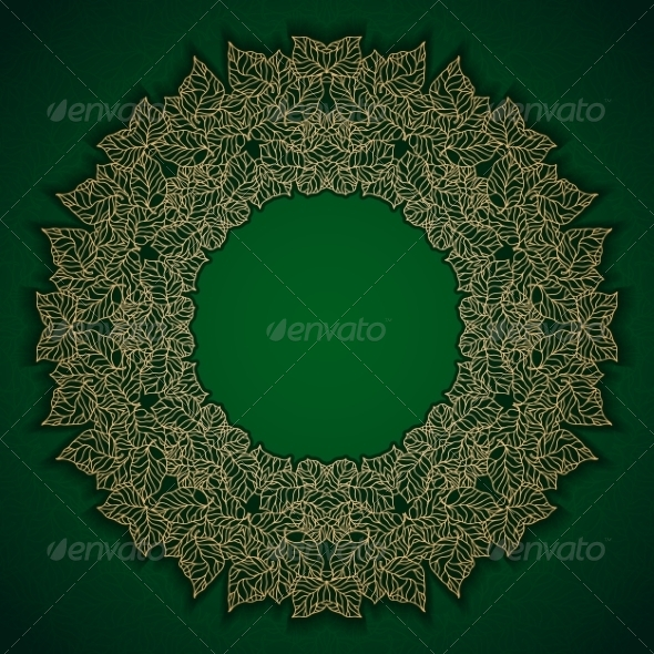 GraphicRiver Green Luxury Pattern with Gold Leaves Frame 7314172