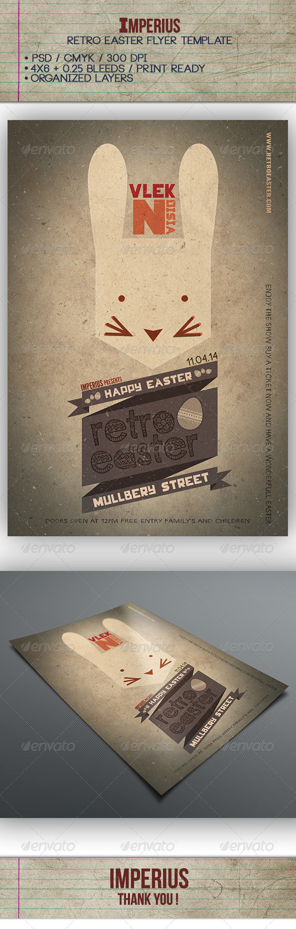 GraphicRiver Retro Easter Flyer 7314182