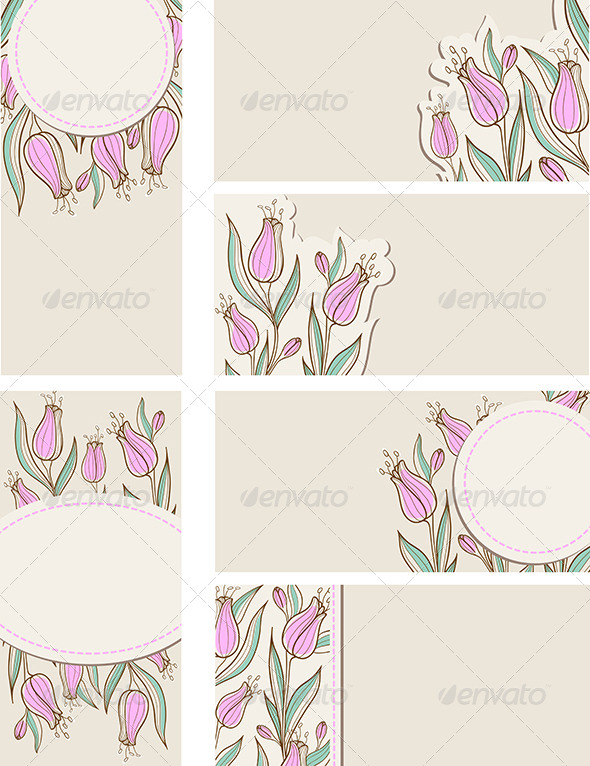 GraphicRiver Cards with Pink Tulips 7314384