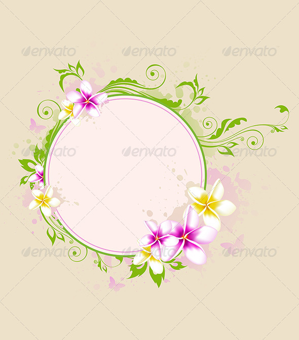 GraphicRiver Tropical Banner with Green Leaves and Flowers 7314405