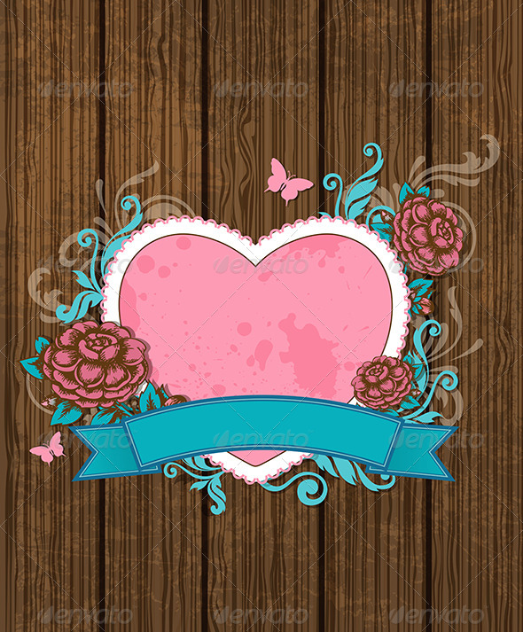 GraphicRiver Heart and Pink Roses 7314453
