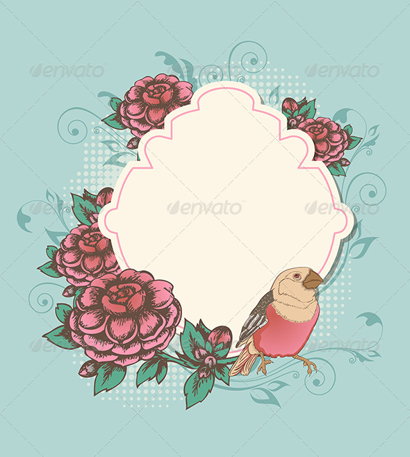 GraphicRiver Label with Pink Roses and Bird 7314479
