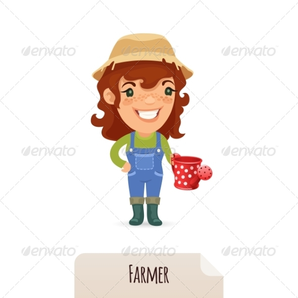 GraphicRiver Female Farmer with a Watering Can 7314544
