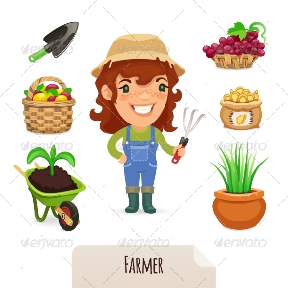 GraphicRiver Female Farmer Icons Set 7314603