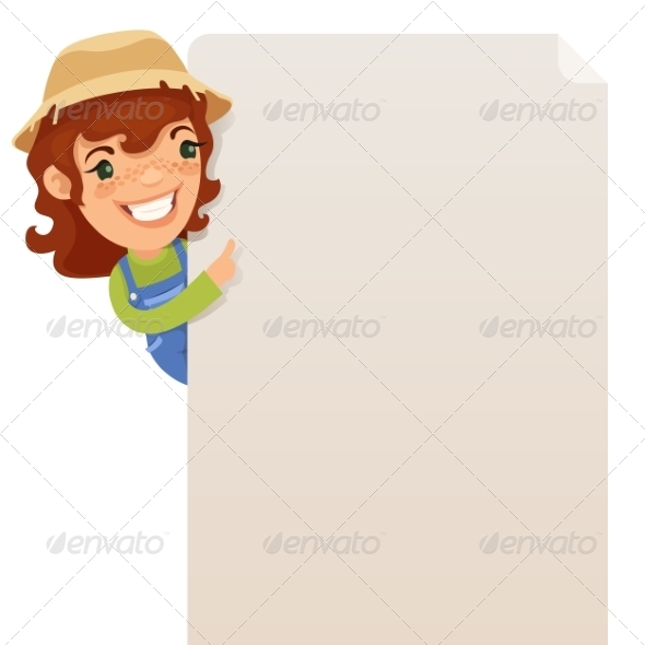 GraphicRiver Female Farmer Looking at Blank Poster 7314667