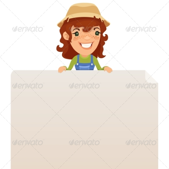 GraphicRiver Female Farmer looking at Blank Poster on Top 7314687
