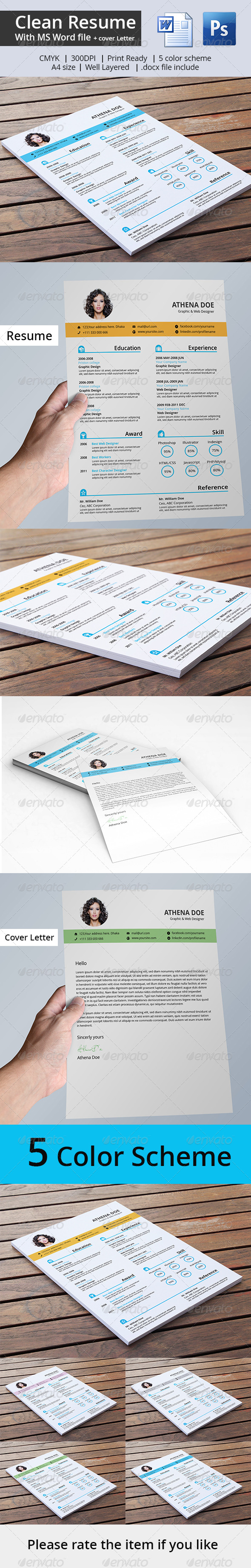 GraphicRiver Clean Resume & Cover Letter With MS Word 7301848