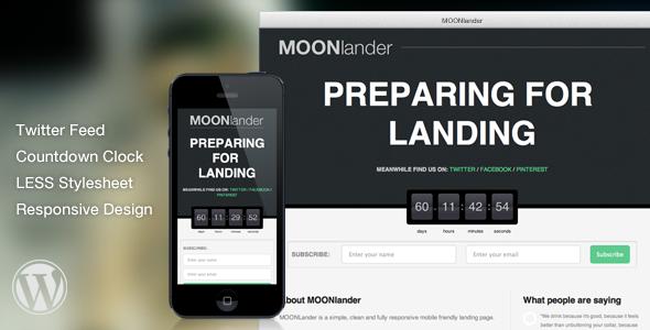 CodeCanyon WP MOONlander Responsive Countdown Landing Page 7229549