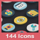 144 Flat Vector Icons - GraphicRiver Item for Sale
