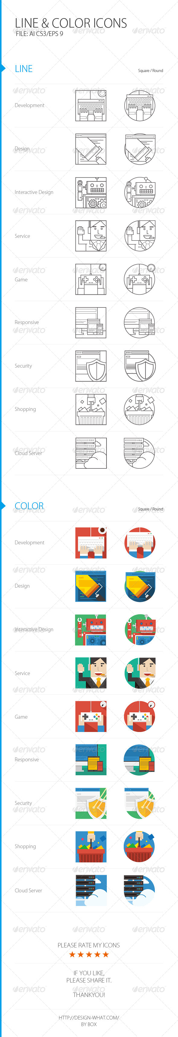 GraphicRiver Line&Color ICONs 7300971