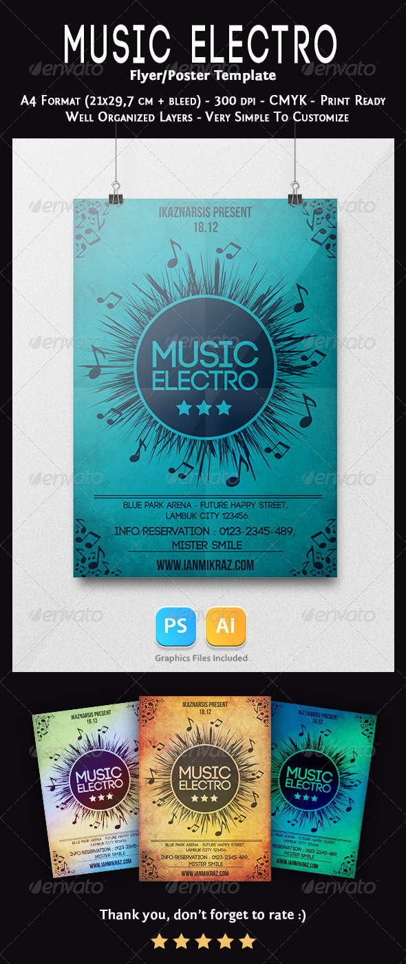 GraphicRiver Music Electro Flyer Template 7317401