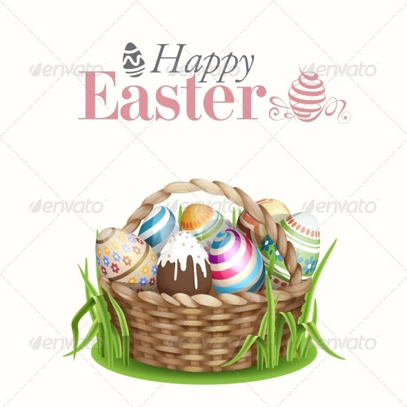 GraphicRiver Easter Background With A Basket 7317627