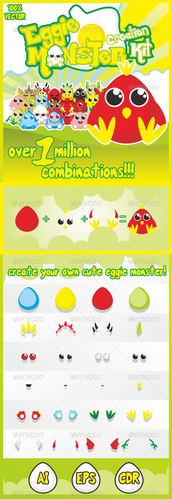 GraphicRiver Eggie Monster Creation Kit 7216795
