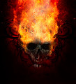 Burning skull. Sketch of tattoo art, fire with tribal flourishes - PhotoDune Item for Sale