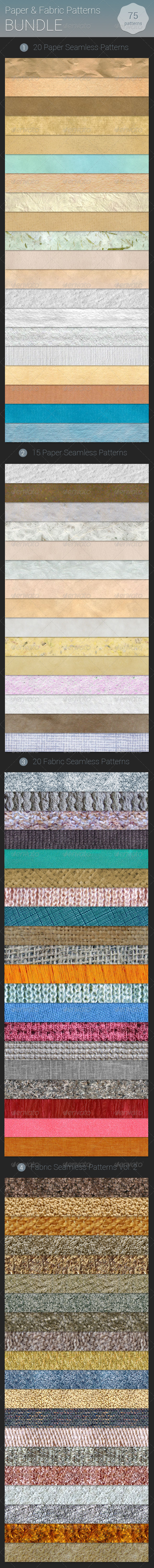 GraphicRiver Paper and Fabric Patterns Bundle 7320142