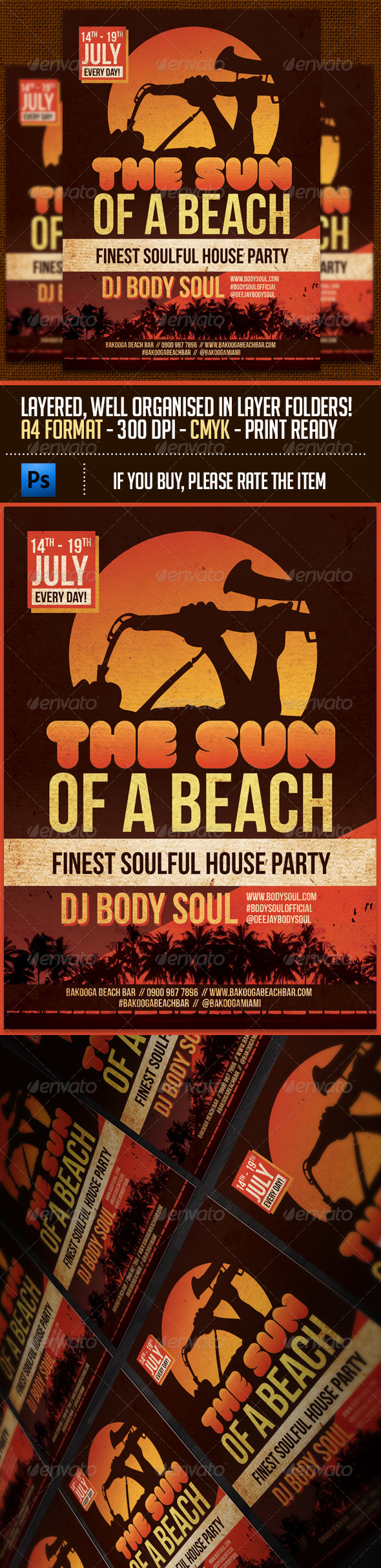 GraphicRiver The Sun Of A Beach Party Flyer Template 7320432