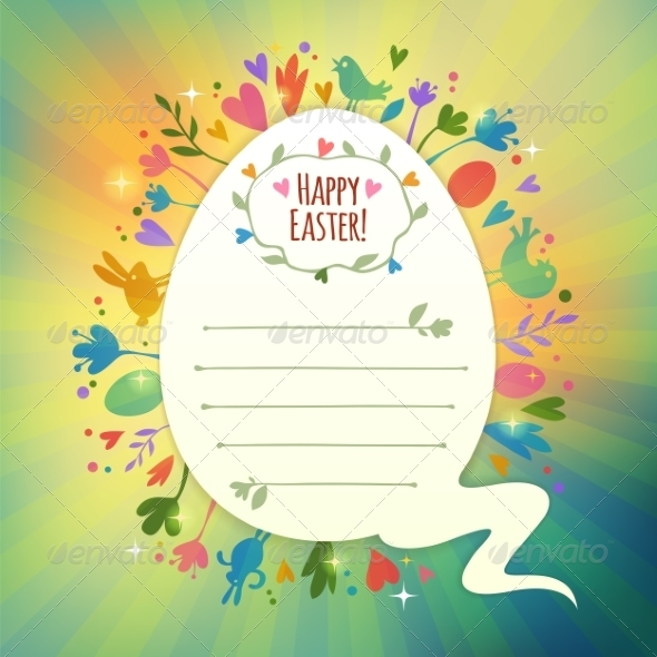 GraphicRiver Beautiful Retro Easter Card With Symbols of Spring 7320480
