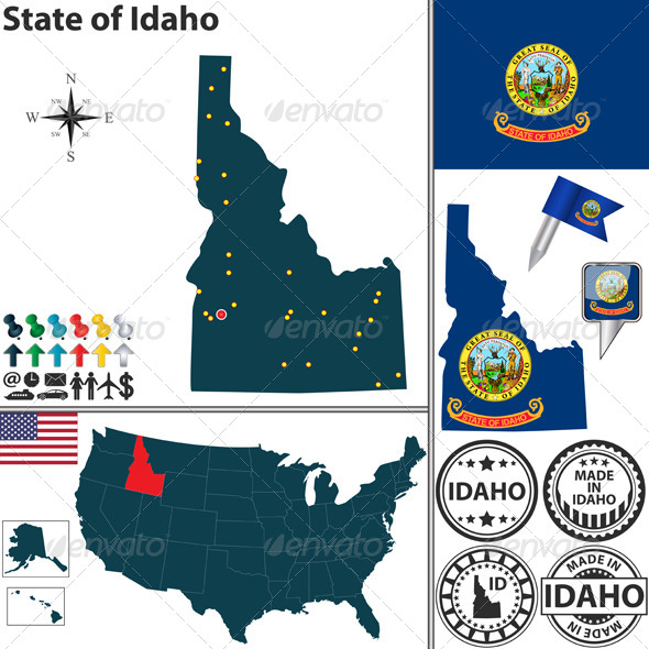 GraphicRiver Map of State Idaho USA 7320571
