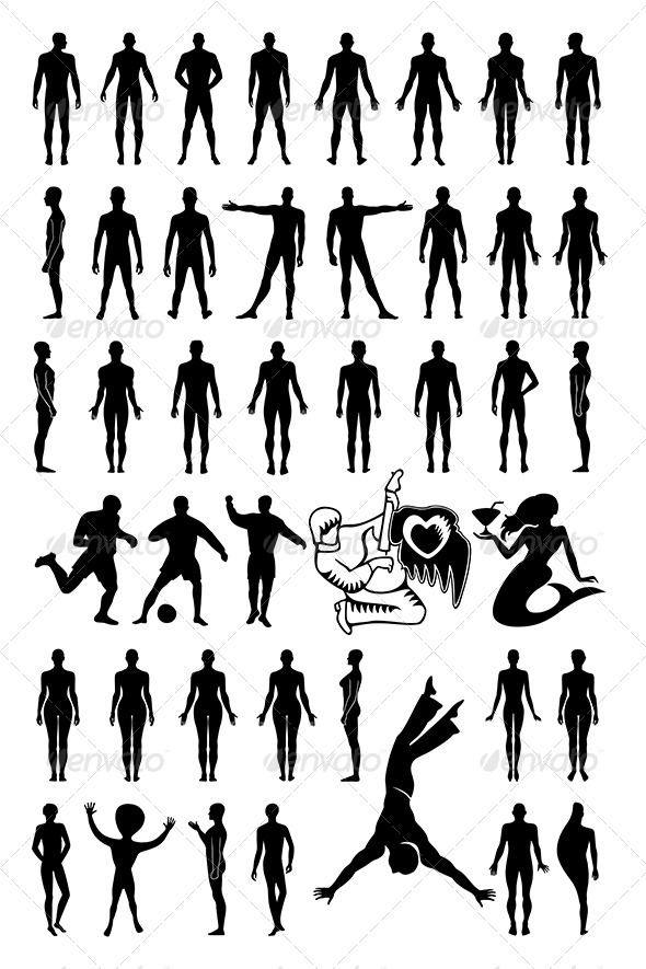 GraphicRiver Man Woman Set Silhouettes 7321098