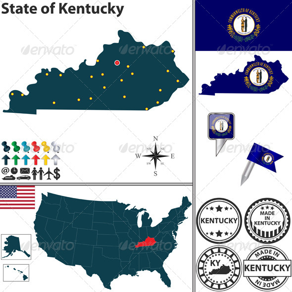 GraphicRiver Map of state Kentucky USA 7321529