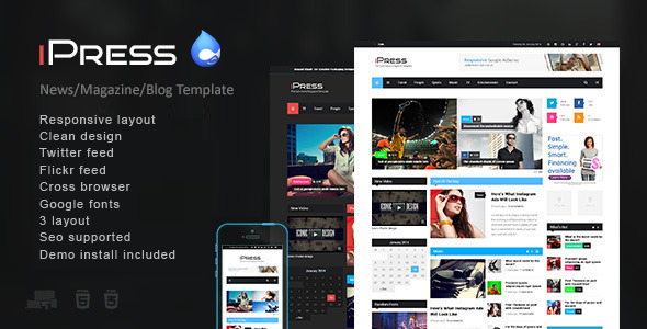 ThemeForest iPress Responsive News Magazine Drupal theme 7321642