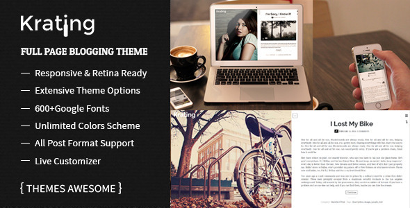 ThemeForest Krating Full Page Blogging Themes 7162135