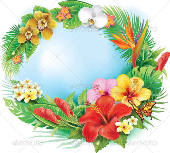 GraphicRiver Round Banner from Tropical Flowers and Leaves 7323087