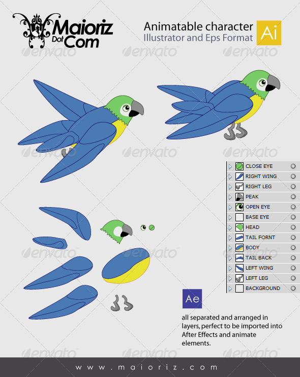 GraphicRiver Animated Bird Character 7322109