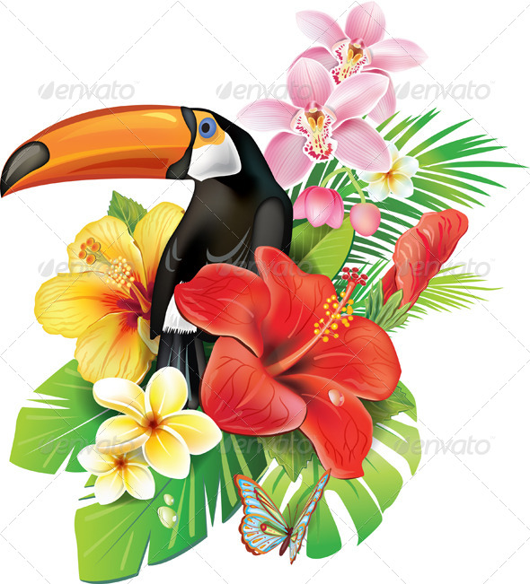 GraphicRiver Tropical Flowers and Toucan 7323174