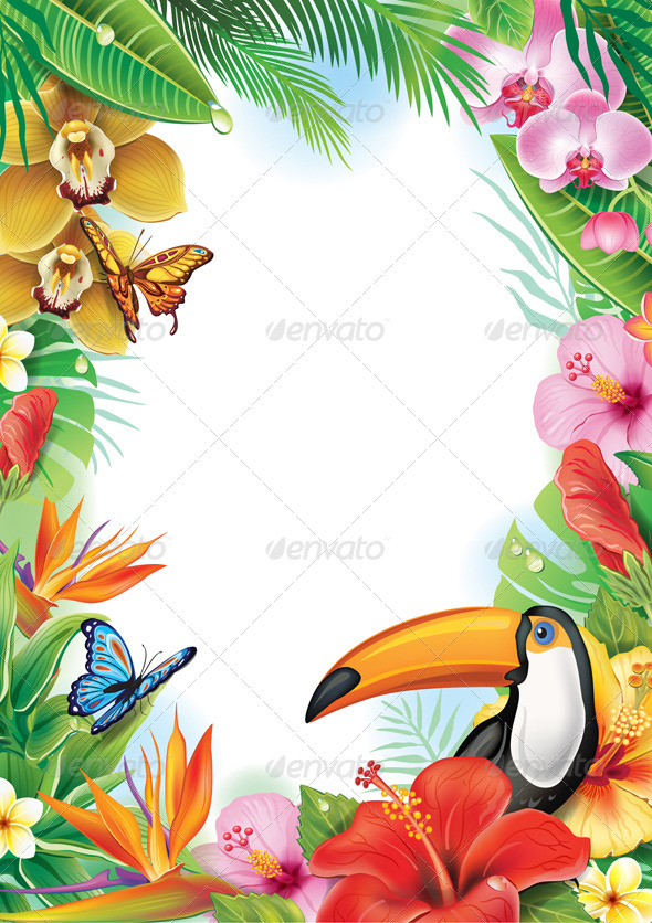 GraphicRiver Frame with Tropical Flowers and Toucan 7323306