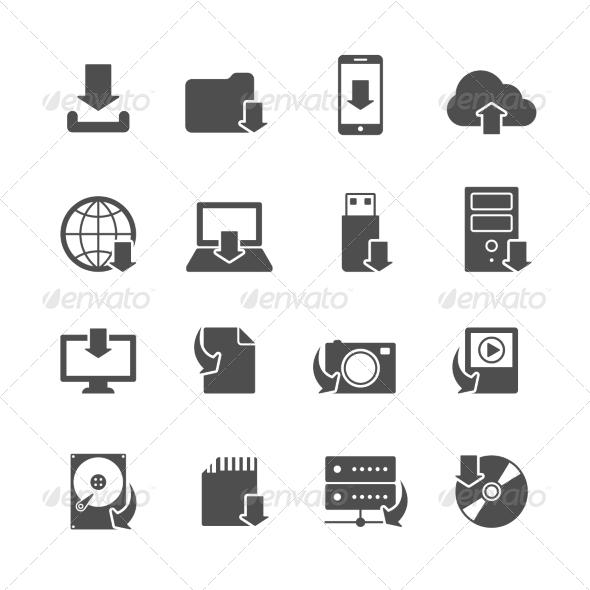 GraphicRiver Internet Download Symbols Icons Set 7323334